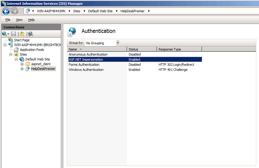 Make sure Authentication Statuses are set as shown for Help Desk Premier.