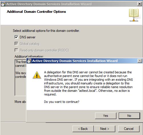 Active Directory DNS Delegation Warning