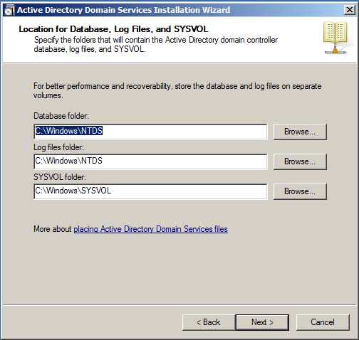 Active Directory Domain Services File Locations