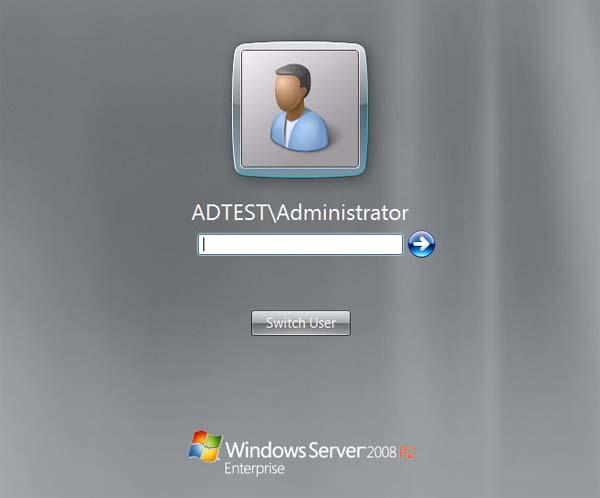 Windows Server 2008R2 Login Screen