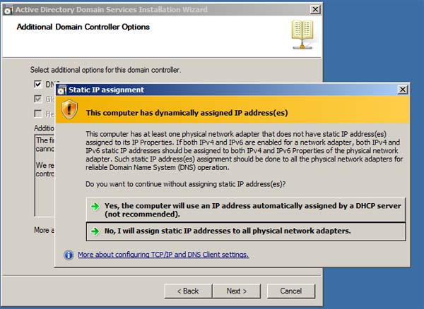 Active Directory Installation - Dynamic IP Warning