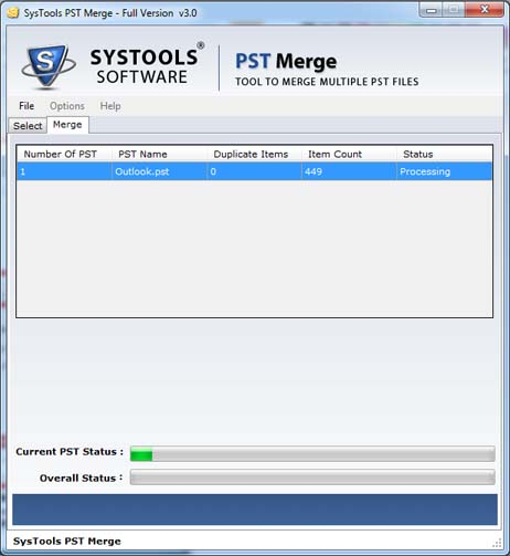 SysTools PST Merge - Merging PST Files